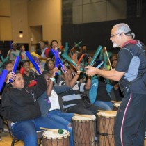 Teens learning rhythms of the world